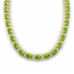 46.50 CTW PERIDOT & DIAMOND SI-I CERTIFIED ETERNITY TENNIS NECKLACE WHITE GOLD - 29430-#280Z8Y