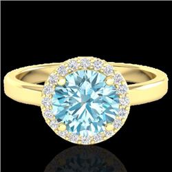 Natural 2 CTW Sky Blue Topaz & Halo Diamond Micro Ring Solitaire Bridal 18K Yellow Gold - 21624-REF#