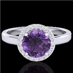 Natural 2 CTW Amethyst & Halo Diamond Micro Pave Ring Solitaire Bridal 18K White Gold - 21617-REF#-4