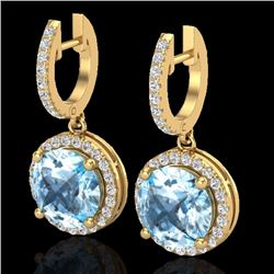 Natural 5.50 CTW Sky Blue Topaz & Micro Pave Diamond Designer Halo 18K Yellow Gold - 23188-REF#-64R5