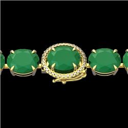 Natural 49 CTW Emerald & Micro Pave Diamond Halo Bracelet 14K Yellow Gold - 22258-REF#-216M2F