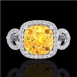 Natural 3.75 CTW Citrine & Micro Diamond Certified Ring 18K White Gold - 22998-REF#-69Y8Z