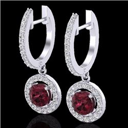 Natural 1.75 CTW Garnet & Micro Halo Solitaire Diamond Certified Earrings 18K White Gold - 23256-REF