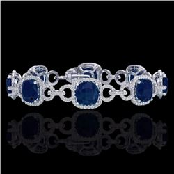 Natural 25 CTW Sapphire & Micro Diamond Certified Bracelet 14K White Gold - 23030-REF#-263H9M