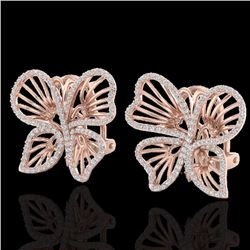 Natural 1.25 CTW Designer Micro Butterfly Diamond Certified Earrings 14K Rose Gold - 22500-REF#-80F6