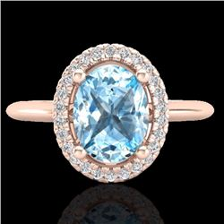 Natural 2 CTW Sky Blue Topaz & Micro Diamond Bridal Ring Solitaire Halo 14K Rose Gold - 21003-REF#-3