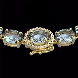 Natural 64 CTW Aquamarine & Diamond Eternity Tennis Micro Halo Necklace 14K Yellow Gold - 23454-REF#