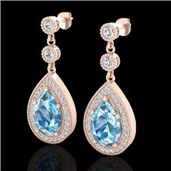 Natural 7.50 CTW Sky Blue Topaz & Micro Pave Diamond Earrings Designer 14K Rose Gold - 23125-REF#-53