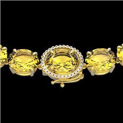 Natural 102 CTW Citrine & Diamond Halo Micro Solitaire Necklace 14K Yellow Gold - 22293-REF#-284F4V