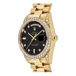 Pre-owned Excellent Condition Authentic Rolex Quickset Men's 18K Yellow Gold Day-Date Black Dial Wat