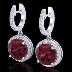 Natural 5.50 CTW Garnet & Micro Pave Diamond Certified Designer Halo 18K White Gold - 23183-REF#-64N