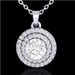 Natural 1 CTW Micro Pave Diamond Solitaire Necklace Double Halo 18K White Gold - 21542-REF#-95A9X
