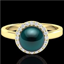 Natural .25 CTW Micro Pave Halo Diamond Certified & Peacock Pearl Ring 18K Yellow Gold - 21637-REF#-