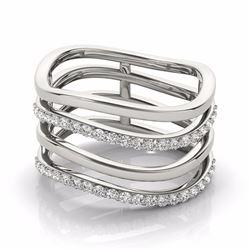 0.55 CTW Certified SI-I Diamond Designer Fashion Ring 18K White Gold - 28280-#80A8V