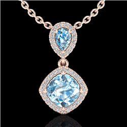 Natural 3.50 CTW Sky Blue Topaz & Micro Diamond Necklace Designer Halo 10K Rose Gold - 20538-REF#-41