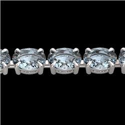 Natural 20 CTW Aquamarine Eternity Designer Inspired Tennis Bracelet 14K White Gold - 23384-REF#-133