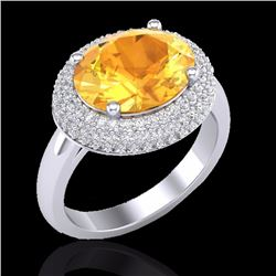Natural 4 CTW Citrine & Micro Pave Diamond Certified Ring 18K White Gold - 20911-REF#-69V4Y