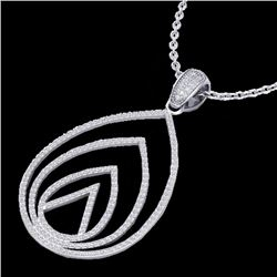 Natural 1.25 CTW Micro Pave Diamond Certified Designer Necklace 18K White Gold - 22479-REF#-96K3W