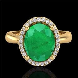 Natural 3 CTW Emerald & Micro Pave Diamond Certified Ring Halo 18K Yellow Gold - 21104-REF#-38V8Y