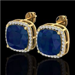 Natural 12 CTW Sapphire & Micro Pave Halo Diamond Earrings Solitaire 18K Yellow Gold - 23069-REF#-84