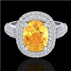 Natural 3.50 CTW Citrine & Micro Pave Diamond Certified Halo Ring 14K White Gold - 20715-REF#-89V8Y