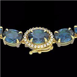 Natural 90 CTW London Blue Topaz & Diamond Tennis Micro Halo Necklace 14K Yellow Gold - 23485-REF#-2