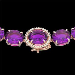 Natural 102 CTW Amethyst & Diamond Halo Micro Eternity Necklace 14K Rose Gold - 22285-REF#-271M7F