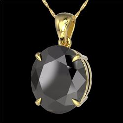 Natural 9 CTW Black Diamond Certified Designer Solitaire Necklace 18K Yellow Gold - 21896-REF#-137Y9