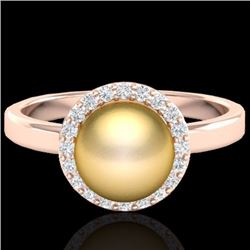 Natural .25 CTW Micro Pave Halo Diamond Certified & Golden Pearl Ring 14K Rose Gold - 21630-REF#-41G