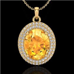 Natural 4 CTW Citrine & Micro Pave Diamond Certified Necklace 18K Yellow Gold - 20561-REF#-66G7N