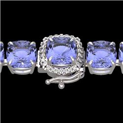 Natural 40 CTW Tanzanite & Micro Pave Diamond Halo Bracelet 14K White Gold - 23324-REF#-402M3F