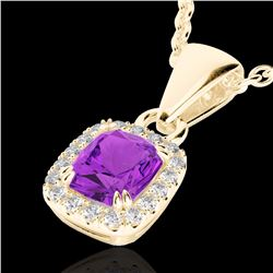Natural 1.25 CTW Amethyst & Micro Pave Diamond Certified Halo Necklace 10K Yellow Gold - 22877-REF#-