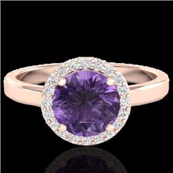 Natural 2 CTW Amethyst & Halo Diamond Micro Pave Ring Solitaire Bridal 14K Rose Gold - 21616-REF#-41