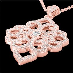 Natural 1.40 CTW Micro Pave Diamond Certified Designer Necklace 14K Rose Gold - 22556-REF#-89H4M