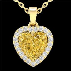 Natural 1 CTW Citrine & Micro Pave Diamond Heart Necklace Heart Halo IN 14K Yellow Gold - 21337-REF#