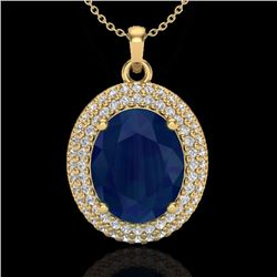 Natural 4.50 CTW Sapphire & Micro Pave Diamond Certified Necklace 18K Yellow Gold - 20574-REF#-78G5N
