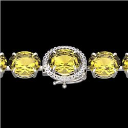 Natural 40 CTW Citrine & Micro Diamond Halo Designer Bracelet 14K White Gold - 22255-REF#-125M7F