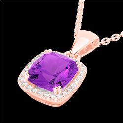 Natural 3 CTW Amethyst & Micro Diamond Pave Halo Solitaire Necklace 14K Rose Gold - 22816-REF#-37N2A