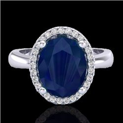 Natural 3 CTW Sapphire & Micro Pave Diamond Certified Ring Halo 18K White Gold - 21114-REF#-38W8G