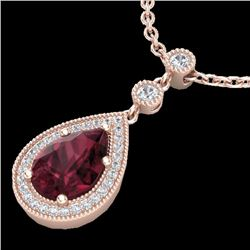 Natural 2.25 CTW Garnet & Micro Diamond Certified Necklace Designer 14K Rose Gold - 23136-REF#-32F8V
