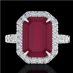 Natural 5.33 CTW Ruby & Micro Pave Diamond Certified Halo Ring 18K White Gold - 21432-REF#-62Z2R