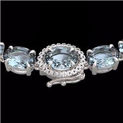 Natural 64 CTW Aquamarine & Diamond Eternity Tennis Micro Halo Necklace 14K White Gold - 23452-REF#-