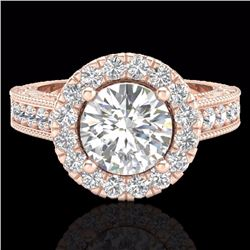Natural 2.25 CTW Vintage style Solitaire Diamond Engagement Halo Ring 14K Rose Gold - 21116-REF#-255