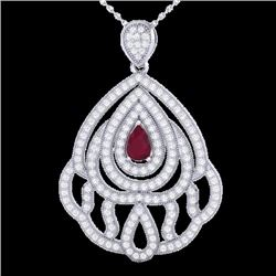 Natural 2 CTW Ruby & Micro Pave Diamond Designer Necklace IN 18K White Gold - 21269-REF#-123T5K