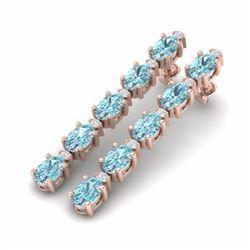 15.47 CTW SKY BLUE TOPAZ & DIAMOND SI-I CERTIFIED TENNIS EARRINGS - 29495-#61K5W