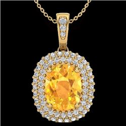 Natural 3 CTW Citrine & Micro Pave Diamond Certified Halo Necklace 14K Yellow Gold - 20412-REF#-51K8