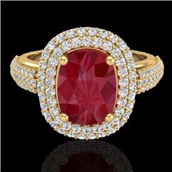 Natural 3.50 CTW Ruby & Micro Pave Diamond Certified Halo Ring 18K Yellow Gold - 20722-REF#-109X2T