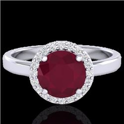 Natural 2 CTW Ruby & Halo Diamond Micro Pave Ring Solitaire Bridal 18K White Gold - 21641-REF#-49Y3Z