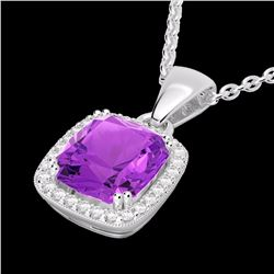 Natural 3 CTW Amethyst & Micro Diamond Pave Halo Solitaire Necklace 18K White Gold - 22815-REF#-42A5