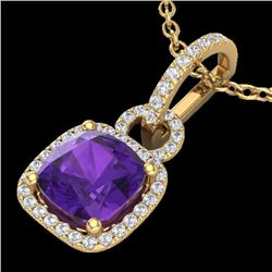 Natural 3.50 CTW Amethyst & Micro Diamond Certified Necklace 18K Yellow Gold - 22977-REF#-44H7M